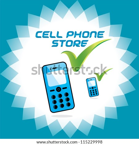Vector Glossy Mobile Phone Store, Nokia, Samsung, Ericsson - style gadget, Accept Icons, Button, Sign, Symbol, Logo