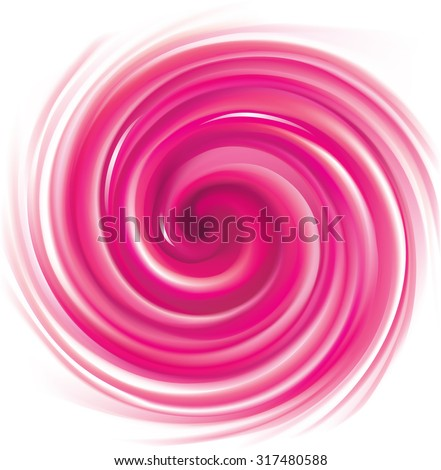 Vector glossy radial curvy backdrop. Whirl fluid vivid pink eddy caramel syrup surface with space for text. Appetizing fruit jam rose color: currant, strawberry, beet or pitaya - stock vector