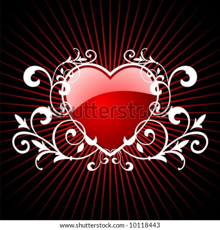 vector glossy red hearth for valentin day illustration on red background