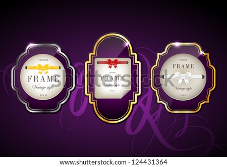 Vector glossy retro frames with metallic shiny borders, with note papers attached with silky ribbons tied in bow knots - purple - stock vector