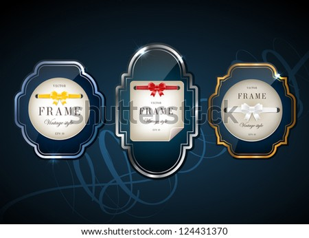 Vector glossy retro frames with metallic shiny borders, with note papers attached with silky ribbons tied in bow knots - dark blue - stock vector