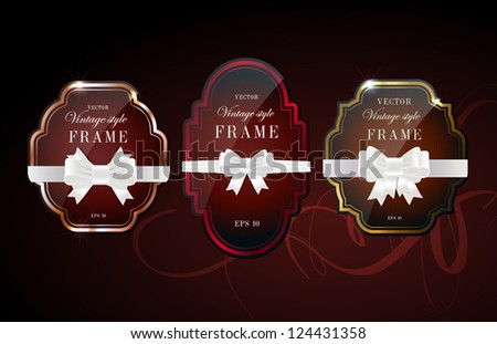 Vector glossy retro frames with metallic shiny borders, with white silky ribbon bow knots - dark red - stock vector