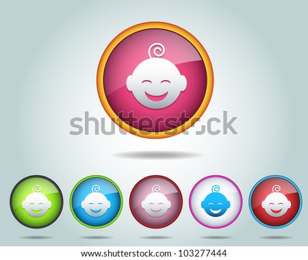 Vector Glossy Round Baby Icon/Button and multicolored - stock vector