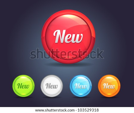 Vector Glossy Round New Icon/Button and multicolored - stock vector