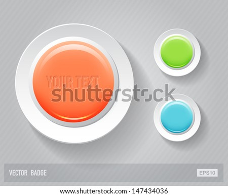Vector glossy round plastic badges