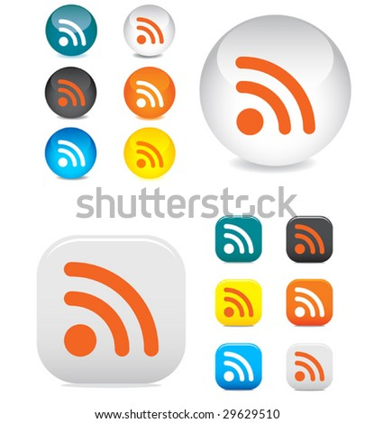 Vector. Glossy rss buttons and symbols on the white - stock vector