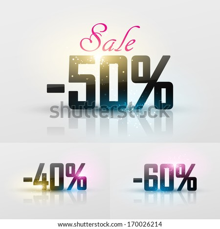 Vector glossy sale percents - stock vector