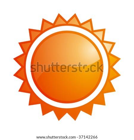 Vector glossy sun icon - stock vector