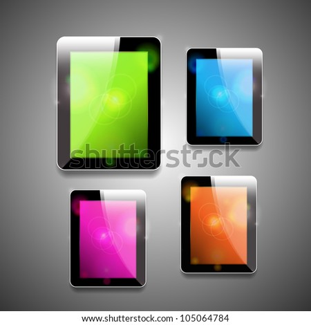 Vector glossy tablet pc with different color screens - stock vector