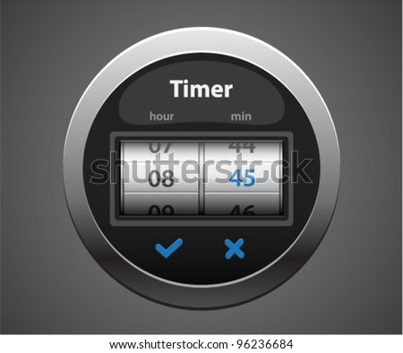 Vector glossy timer with glowing numbers - stock vector