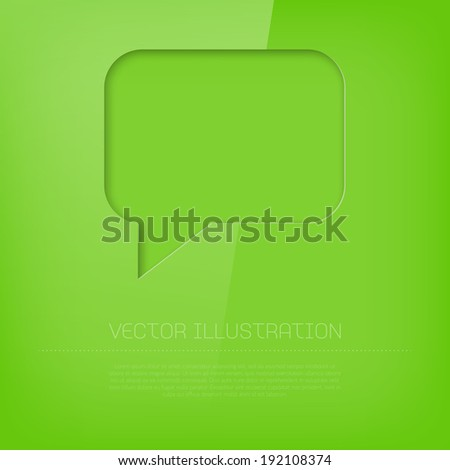 Vector glossy vibrant cut out green speech bubble icon - stock vector