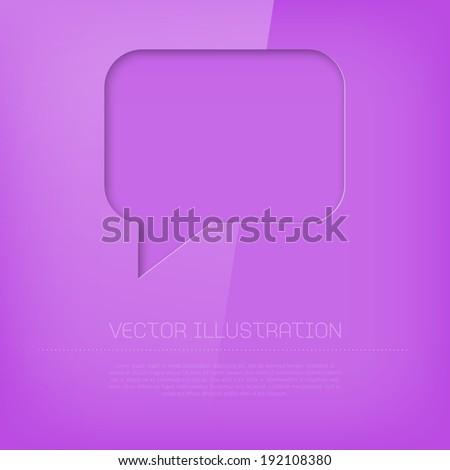 Vector glossy vibrant cut out purple speech bubble icon - stock vector