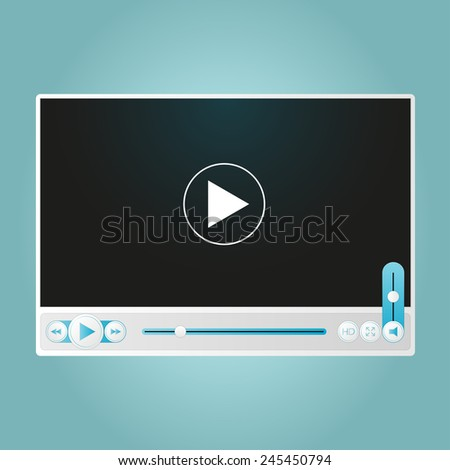 Vector glossy video player design with different control navigation panel - stock vector