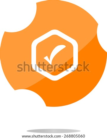 vector glossy web button with check mark sign, icon isolated on white - stock vector