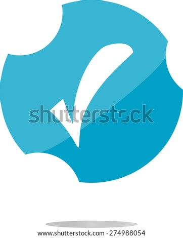 vector glossy web button with check mark sign. shape icon - stock vector