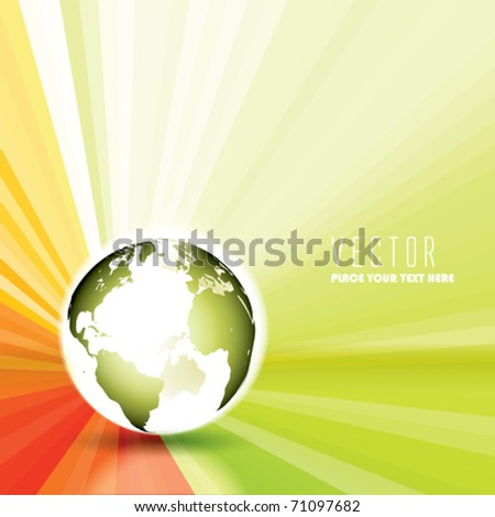 Vector Glow Globe with Sun Rays - stock vector