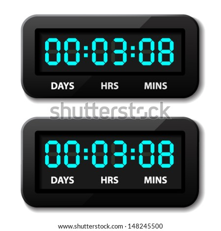 vector glowing digital counter - countdown timer - stock vector