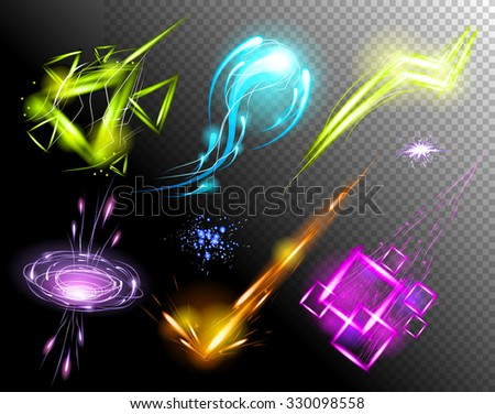 Vector Glowing Light Effect set. Sparkling Efect Design Element Collection. Stars, Planet, Comet, Galaxy, Asteroid isolated on black Background. Vector Illustration - stock vector