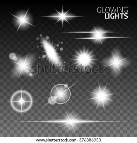 Vector glowing light effect stars bursts with sparkles on transparent background. Glowing lights effect, flare, explosion and stars. Special effect isolated on transparent background  - stock vector