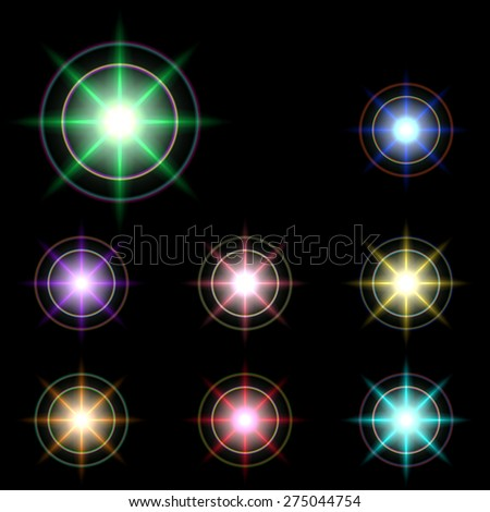 vector glowing lights, stars and sparkles 4 - stock vector