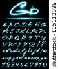 vector glowing transparent Alphabet, uppercase and lowercase letters, digits - stock photo