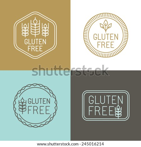 Vector gluten free badges and emblems in line style - stock vector