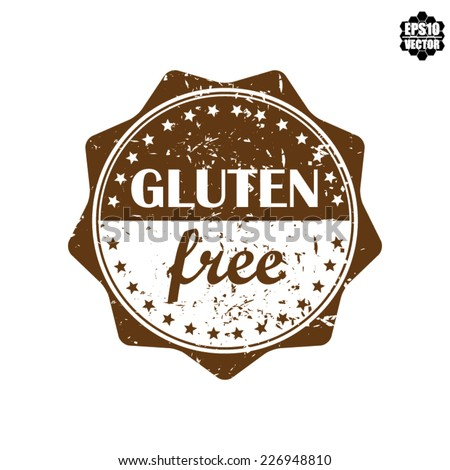 Vector : Gluten free Brown Tag Label,  Sticker or Badge Vintage Style. - stock vector