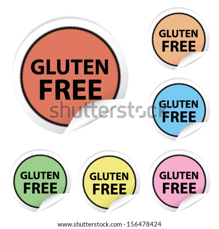Vector: Gluten Free colorful stickers, icons, labels, signs, symbols or tags isolated on white background.  - stock vector