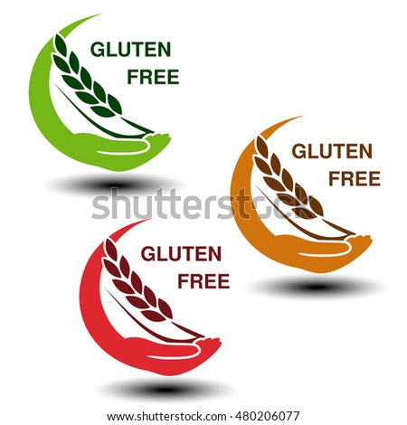 Vector gluten free symbols isolated on white background. Circular silhouettes hand with spikelet.