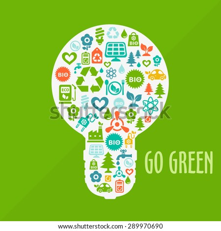 Vector Go Green ecological illustration with light bulb shape contained of ecology icons - stock vector