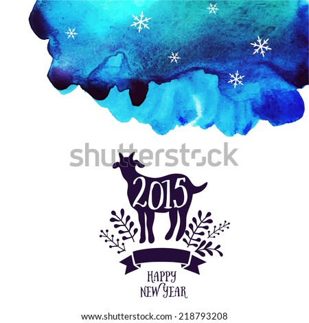 Vector goat. Watercolor background. Symbol of the 2015 year, greeting card with goat. Vector watercolor backdrop. Greeting card 2015. Happy New Year  - stock vector