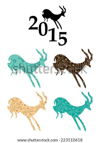 vector goats - chinese 2015 year  - stock vector