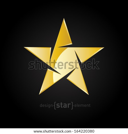 Vector Gold Abstract star on black background. Company logo template. - stock vector