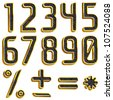 Vector gold and black leather font digits, numbers - stock photo