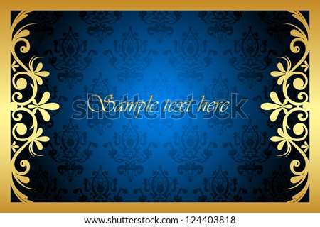 Vector gold and blue floral frame - stock vector