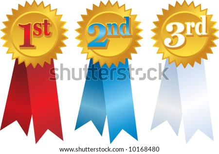 vector gold award ribbons with place numbers - stock vector