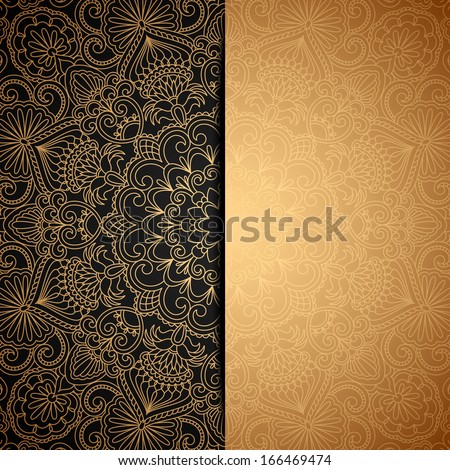 Vector gold background with vintage pattern. - stock vector