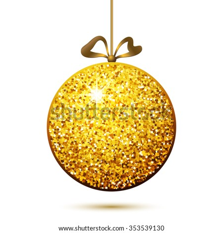 Vector gold ball pendant, bauble, Christmas or New Year decoration on white, eps10 - stock vector