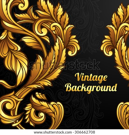 Vector gold baroque pattern on black background. - stock vector
