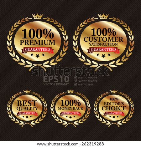Vector : Gold Best Quality, 100% Customer Satisfaction, 100% Premium, 100% Editor's Choice and 100% Money Back Guaranteed Wheat Laurel Wreath, Ribbon, Label, Sticker or Icon - stock vector