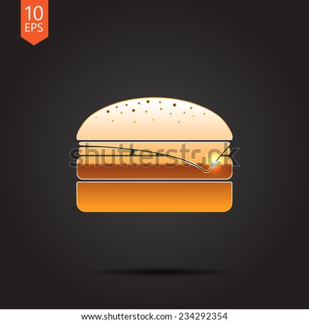 Vector gold burger icon isolated on dark background. Eps10 - stock vector