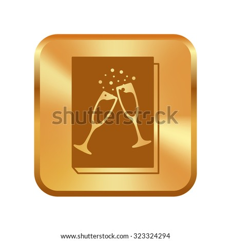 Vector gold button with book - vector icon with glasses of champagne  - stock vector