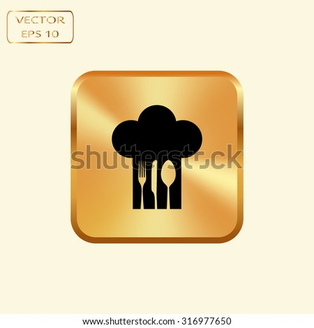 Vector gold button with Chef hat with fork, spoon and knife inside - stock vector