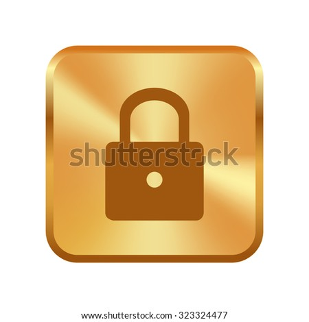 Vector gold button with lock icon - vector