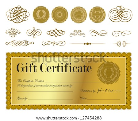 Vector Gold Certificate. Easy to edit. All layers are separated. - stock vector
