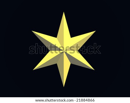 vector Gold Christmas star isolated over a black background