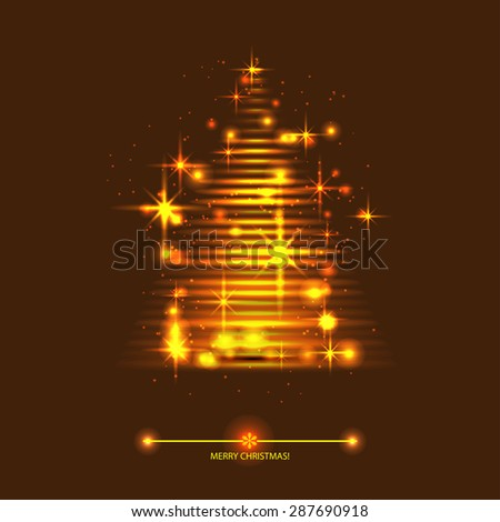 vector gold christmas tree. Greeting card - stock vector