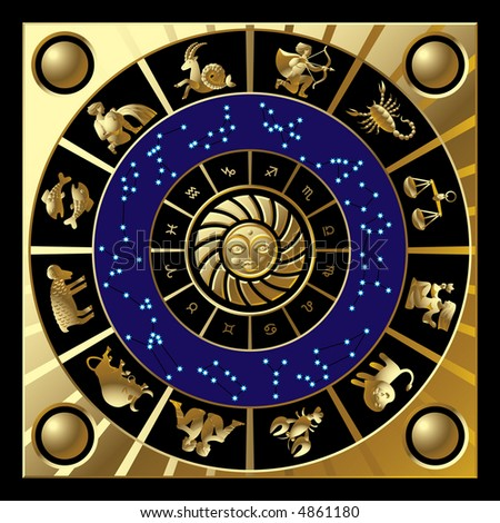 Vector gold circle with the signs and the constellations of the zodiac - stock vector