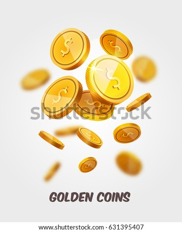 Vector Gold coins flying isolated on white in different positions with place for text. Falling coins, prize, cash winnings, lottery, poker slots background