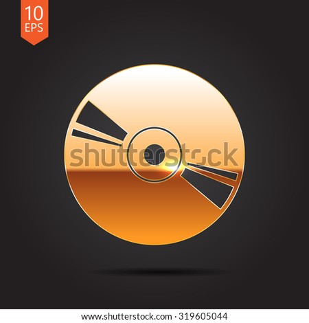 Vector gold compact disc icon on dark background  - stock vector